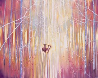 Print on Canvas - Manifestation - A Winter Woodland Landscape With Deer