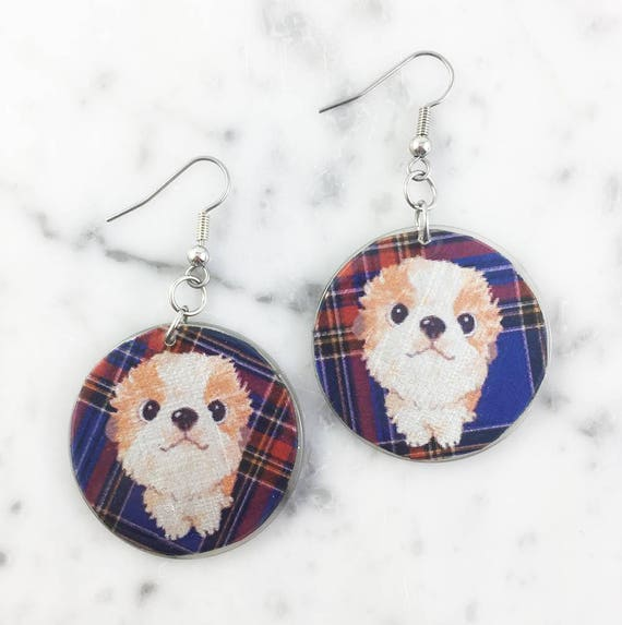 Resin earrings, dog, blue, cute, unique, handmade, sold, earring, hypoallergenic hook
