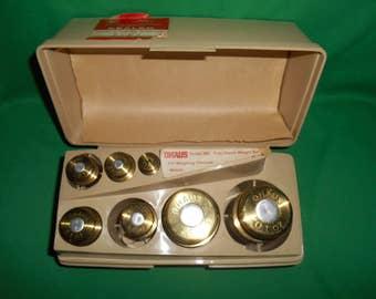 One (1), Vintage, Ohaus, Brass, Precious Metal Weight Set # 260, in Orginal Case.