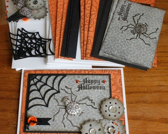 Steampunk Hand Stamped 4.25x5.5 Halloween DIY 4 card Kit With Envelopes