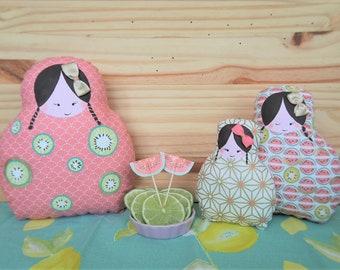 Déco poupettes collection agrume - série de trois poupées décoratives