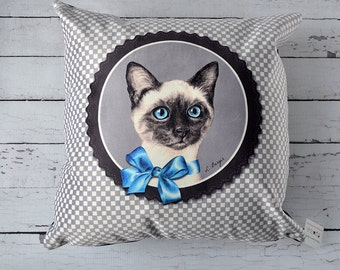 Kitten cushion cover, siamese pillow cover, cat decorative pillow, cat lover, cat cushion, pillow art, siamese cat