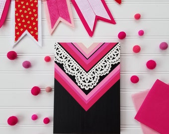 Lace & Chevron sign. Valentines Day