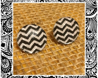Chevron Jewel Stud Earrings - Black and White Chevron Jewel - Chevron Studs - Jewel Studs - Black and White Statement Earrings