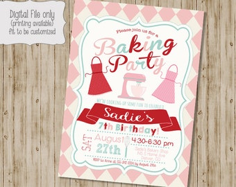 Baking Birthday Invitation, Cooking Birthday Invitation, Cupcake Birthday Party, Baking Birthday Party, Chef Birthday