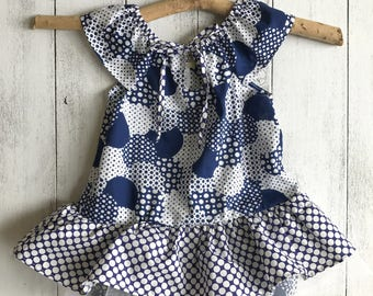 "Tutu Romper with sleeves and tie - The ""Indigo Bubbles"" Tutu romper, Size 1 and 2 available"