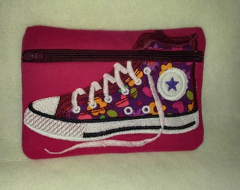 High Top Embroidered Zipper pouch