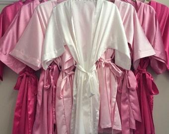 Bridesmaid and Bride (set of 11)  Monogram Satin Robe with Pockets