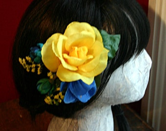 Vibrance Hair Clip Fascinator - Belly Dance, Wedding, Hair Garden, ATS, Tribal Fusion, Vegan, Prom, Blue, Yellow