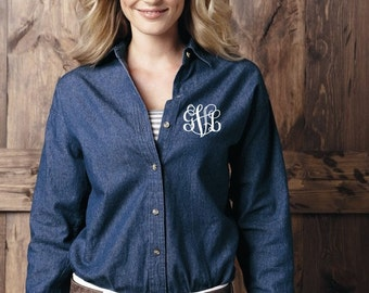 Monogrammed Ladies Denim Shirt