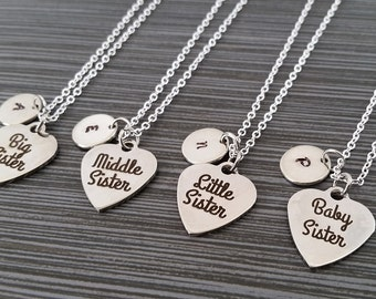 Four Sister Necklaces - Big Sister Necklace - Baby Sister Middle Sister Personalized Necklace - Custom Gift Initial Necklace - Sister Gift