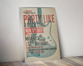 Guitar Rock Star Birthday Invitation