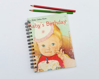 Baby's Birthday, Recycled Little Golden Book Journal