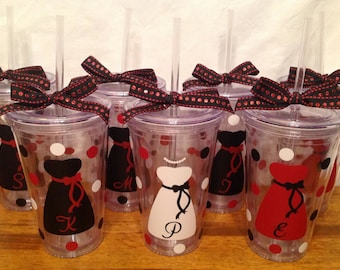 7 Personalized Clear BRIDE & BRIDESMAIDS TUMBLERS Dress Name Initial Polka Dots Bridal Bachelorette Wedding Party