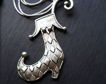 Quirky Elf Boot Silver Necklace