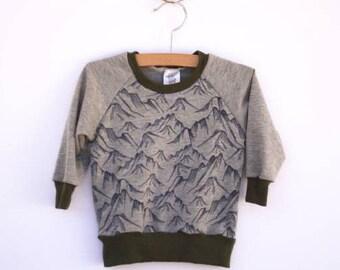 Boys lightweight sweatshirt, mountain sweater, mountain shirt, Long sleeve shirt, toddler boys sweatshirt, baby boy sweatshirt, baby boy