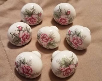 Set of seven vintage rose, rosebud ceramic drawer pulls