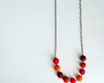 Paulina Felt Necklace in Paprika, Red Statement Necklace, Gift For Her, Mothers Day Gift, Gift Under 50, Felt Balls, Beaded Necklace, Unique
