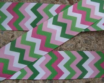 """Chevron Ribbon Green and PinkRibbon chevron ribbon 7/8"""" ribbon 3yards hair bow ribbon craft supplies"""