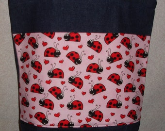 New Large Handmade Big Ladybugs Lady Bug on pink background  Denim Tote Bag