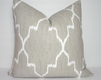 SALE Brown Tan  Ikat Geometric Lacefield Monaco Oatmeal Pillow Cover Decorative Throw Pillow Choose Size