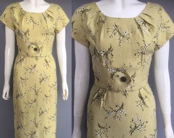 1950s wiggle dress / summer dress xs/s
