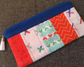 Cute Orange and Blue Quilted Zippered Pouch