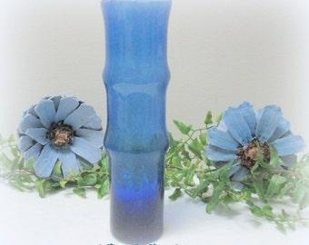 Vintage Blue Vase, Cobalt Blue Vase, Deep Blue Ribbed Vase