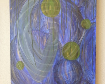 Original acrylic blue abstract gallery wrapped painting.
