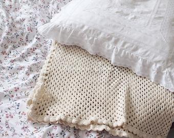 Crochet Blanket Cream cotton cotton cream plaid blanket