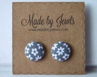 Gray and White Colored Floral Dot Handmade Fabric Covered Hypoallergenic Button Post Stud Earrings 10mm