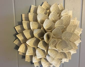 Book Page - Paper Dahlia - Flower - Wall Hanging