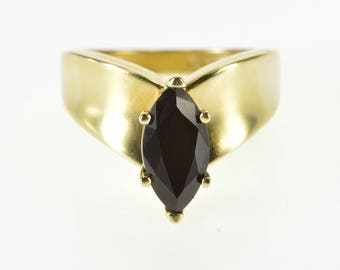 10K Black Onyx Marquise Pointed Chevron Band Ring Size 6.75 Yellow Gold
