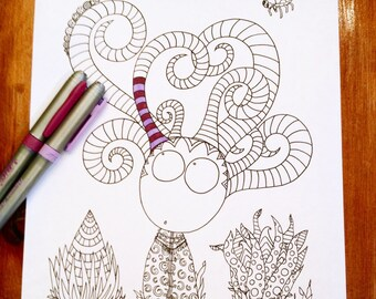 Doodle Story Creatures Coloring Page Alien Monster Horns Original Art Kids Fun Design