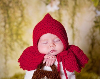 Crochet Little Red Riding Hood Newborn Photography Prop/Baby Shower Gift/Infant Halloween Costume/Cake Smash Photo PropTwin Photo Props