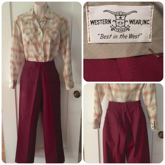 1950s WESTERN WEAR Womens High Waist Burgundy Gabardine Pants with Arrow Belt Loops - XS