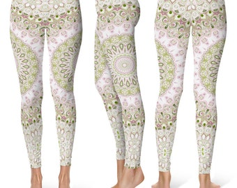 Spring Leggings Yoga Pants, Mandala Printed Yoga Tights for Women, Bridesmaid Gift Ideas