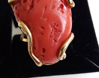 Vintage Mediterranean Red Coral ring