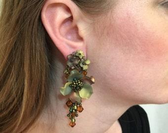 GOLDEN Chandelier Earrings by Vintage Jewelry Designer COLLEEN TOLAND