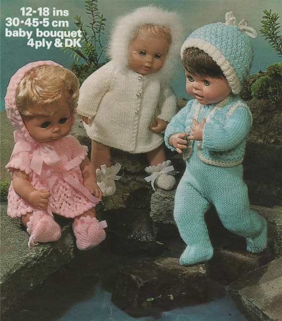 Dolls Clothes Knitting Pattern PDF for 12 14 16 and 18 inch