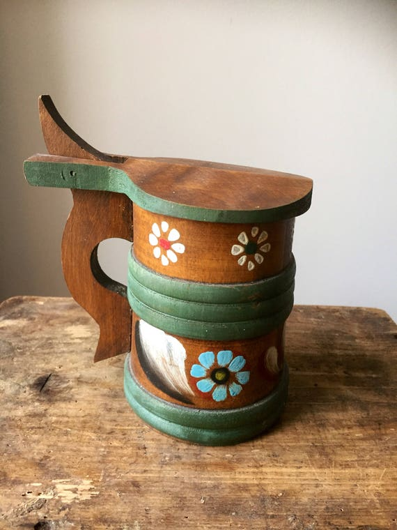 Rustic/hand carved/ turned/Scandinavian wooden /stein/ hand painted/ hand crafted/ traditional folk art /woodworking /swedish