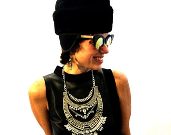 Vintage hat black hat warm hat quilted hat