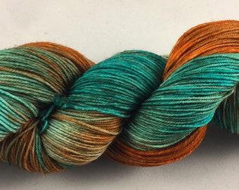 hand dyed sock yarn, fingering weight, superwash merino wool and nylon, colorway ARIZONA HIGHWAY