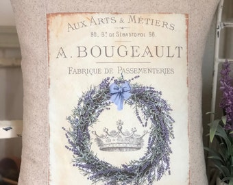 French Lavender Provence Wreath and Crown Throw Pillow,  French Script Lavender Pillow , French Country Throw Pillow,  Cottage Pillow