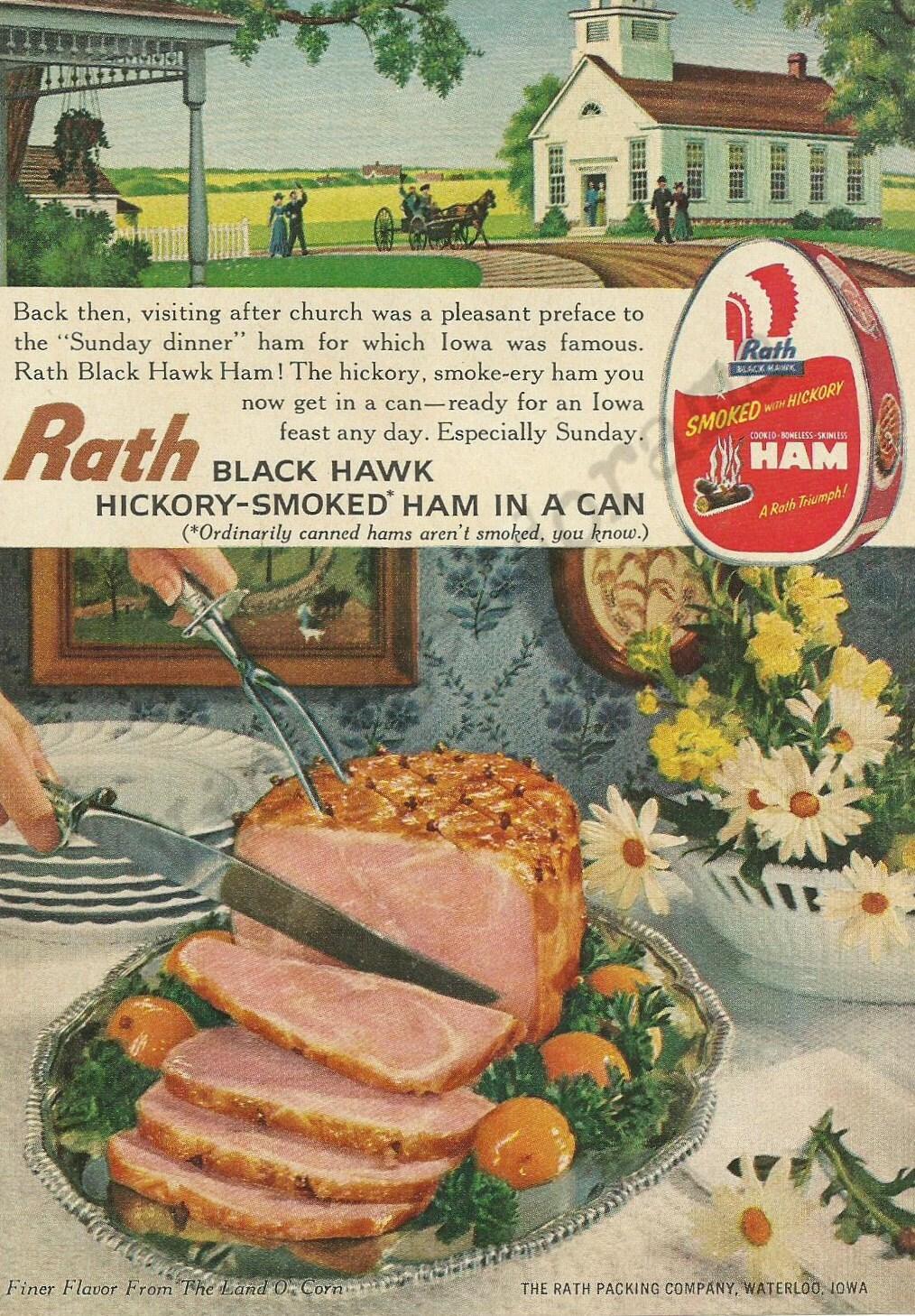 Rath Halcón Original 1961 Vintage Color negro impresión Ad - Hickory ...