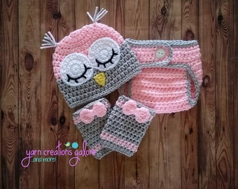 Newborn Sleepy Owl Hat with Diaper Cover and Leg Warmers Outfit