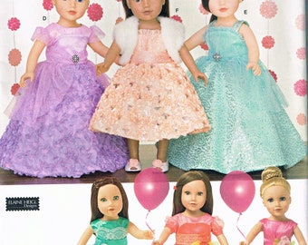 """18"""" Tall Doll  Dress Sewing Pattern - Doll Party Dress Sewing Pattern - Doll Prom Evening Dress - Doll Clothes Pattern -Simplicity 1135"""