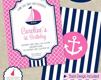 Nautical Party Invitation | Girls Nautical Birthday Invitation | Pool Party Printable | Girls 1st Birthday | Amanda's Parties To Go