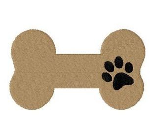 Dog bone embroidery design, bone with paw print, filled stitch design, 4 sizes, pet embroidery design