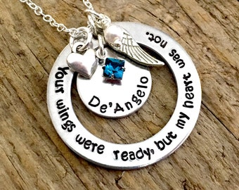Your Wings Were Ready But My Heart Was Not Remembrance Necklace, Memorial Jewelry, Loss Of Loved One Sympathy Gift, Mom Dad Husband Child